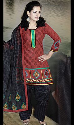 Magnificent Red and Black Salwar Kameez Price: Usa Dollar $67, British UK Pound £39, Euro49, Canada CA$72 , Indian Rs3618.