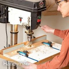 Build this deluxe drill press table to simplify clamping woodworking projects and holding them steady while drilling. Or build a simplified version of the same thing. Either way you'll improve your drill press results. Woodworking Drill Press, Woodworking For Kids, Woodworking Projects That Sell, Woodworking Patterns, Woodworking Workshop, Woodworking Tools, Woodworking Jigsaw, Woodworking Furniture, Woodworking Beginner