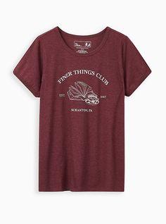Bleach Shirts, Ringer Tee, The Office, Plus Size Women, Torrid, Soft Fabrics, Regional Manager, Burgundy, Short Sleeves