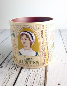 """""""One cannot have too large a party."""" And one cannot have too much caffeine. This Jane Austen mug holds 16oz. Dishwasher and Microwave safe."""