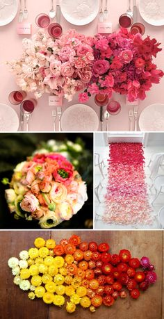 "ombre flowers- pretty bouquet and the other things are pretty too. I like blending!! The bouquet is really good. All depends on how you pull this off though. Some other ""ombre"" examples aren't very good..."
