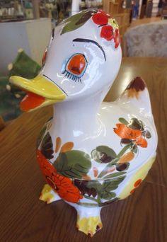 Vintage Lefton Italian Italy Painted Sleeping Flower Goose Duck Cookie Jar
