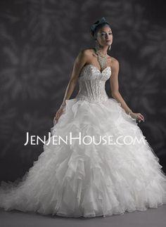 Wedding Dresses - $216.19 - A-Line/Princess Sweetheart Court Train Organza  Satin Wedding Dresses With Beadwork (002011996) http://jenjenhouse.com/A-line-Princess-Sweetheart-Court-Train-Organza--Satin-Wedding-Dresses-With-Beadwork-002011996-g11996