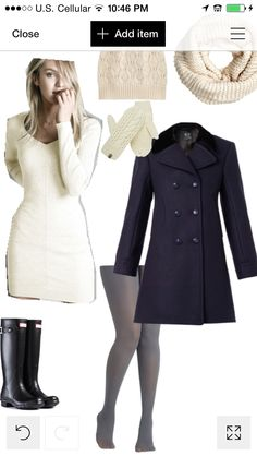 Fall winter pea coat autumn attire wear clothes outfit look style fashion dressy casual navy white kitten hat scarf tights leggings sweater dress hunter boots school college city street chic classy fancy Christmas cute