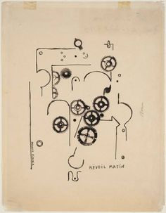 "archives-dada: ""Francis Picabia, Réveil Matin [Alarm Clock], 1919, ink on paper, London, Tate Modern. © ADAGP, Paris and DACS, London 2002 """