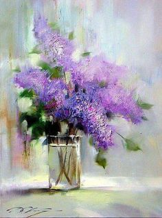 Explore amazing art and photography and share your own visual inspiration! Lilac Painting, Oil Painting Flowers, Abstract Flowers, Watercolor Flowers, Watercolor Paintings, Flower Paintings, Canvas Paintings, Art Floral, Still Life Oil Painting