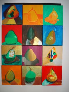 Using small,square canvases students from grade 4 and 5 were given oil paint and a pear each. These were the results! Fantastic! This was a small group of student being targeted not a whole class. Extension group, Master Class. K Wickham