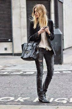 Distressed denim, booties, Celine bag.