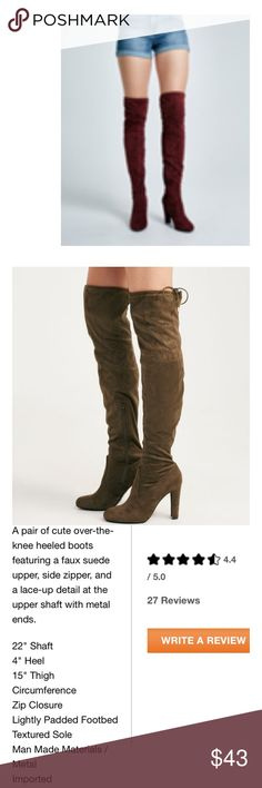 Bordeaux Over The Knee Boots Beautiful bordeaux color boots that are super chic! Brand new! Wet Seal Shoes Over the Knee Boots