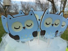Cupcake Toppers Baby Shower It's A Boy Owl by table4six on Etsy