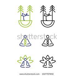 A set of minimal yoga icons