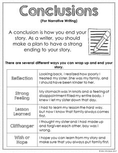 Narrative Conclusions Anchor Chart