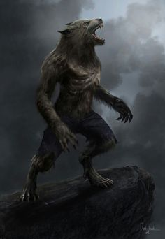 Werewolf howling at the moon, ready for a hunt...