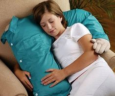 This snuggle pillow will always be a shoulder for you to lie and cry on. This pillow is machine washable, includes the removable t-shirt, and also is a great neck pillow. Makes a great gift for the constantly neglected forever aloners or girls on the rebound.
