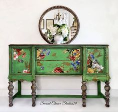Spring Green – Second Chance Studios Funky Painted Furniture, Upcycled Furniture, Vintage Furniture, Diy Furniture, Furniture Design, Painting Furniture, Weathered Wood, Barn Wood, Painted Buffet