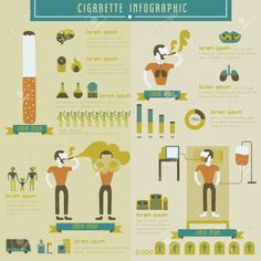 Illustration of Cigarette and smoking info graphic vector art, clipart and stock vectors. Infographic Templates, Infographics, Anti Smoking Poster, Quit Smoking Tips, Project 3, Graphic Illustration, Zentangle, Vector Art, Clip Art