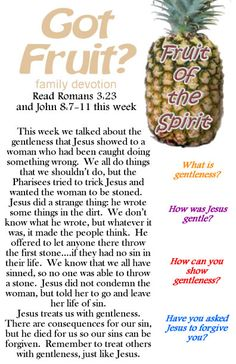 Fruit of the Spirit :gentleness printable devotional. Great for Sunday School, small groups, kids church, or family devotion time.  Part of a whole printable series