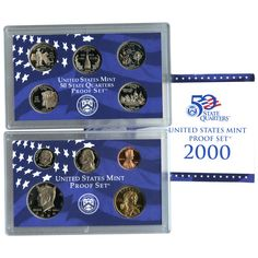 2000-S 10-Coin Proof Set including 5 State Quarters