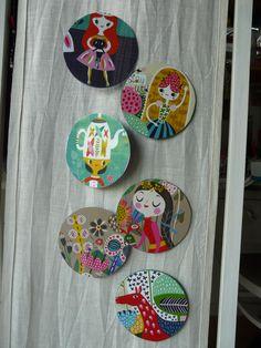 """Collage sur CD des illustrations du magazine """"FLOW"""" """"Gisèle"""""""