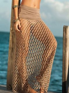 Brown High Waist Mesh Maxi Beach Skirt | Choies