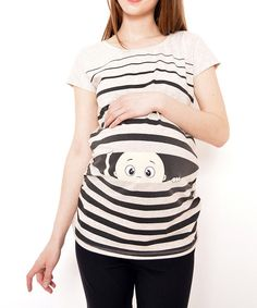 Take a look at the Gor&Sin Maternity Bone & Black Stripe Peekaboo Baby Maternity Tee on #zulily today!