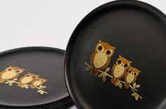 Midnight owl pottery dinner plates choose your colors owl in tree full moon custom pottery plate