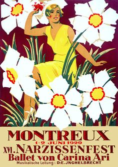 Festival of Daffodils Switzerland - Venus Art Prints - Eclectic, contemporary wall art, collage, vintage posters Retro Advertising, Vintage Advertisements, Vintage Ads, Vintage Food, Art Deco Posters, Cool Posters, Poster Prints, Lausanne, Evian Les Bains