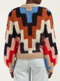 Ganni Julliard geometric mohair and wool-blend sweater Black And White Outfit, Chunky Knitwear, Knit Cardigan Pattern, Crochet Coat, Winter Mode, Cool Sweaters, Knit Fashion, Sweater Weather, Lana