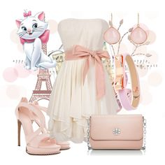 A fashion look from October 2014 featuring pink dress, leather sandals and tory burch crossbody. Browse and shop related looks. Modern Disney Outfits, Disney Bound Outfits, Disney Inspired Fashion, Disney Fashion, Simple Outfits For School, Beautiful Outfits, Cute Outfits, Gata Marie, Character Inspired Outfits