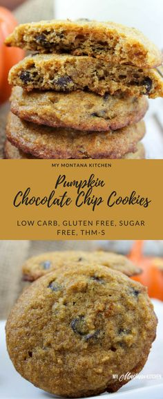 Pumpkin Chocolate Chip Cookies (Low Carb, Sugar Fr…