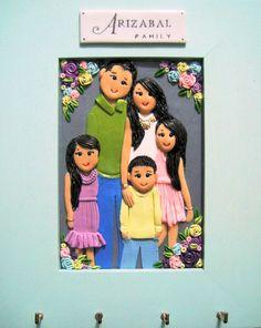 polymer clay family portrait/ key-holder for Arizabal Family