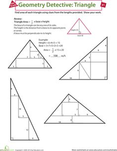 Fourth Grade Geometry Multiplication Algebra & Functions Worksheets: Find the Area of a Triangle Geometry Lessons, Teaching Geometry, Geometry Activities, Geometry Worksheets, Teaching Math, Math Help, Fun Math, Learn Math, Math Lesson Plans