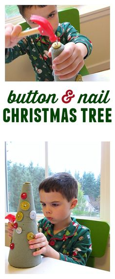 Button Christmas Tree Craft #Diy #Christmas Tree Crafts #Ideas