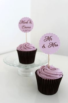 Wedding Cupcake Picks by PaperFete on Etsy, £4.95