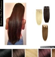 28 inch (70cm) long DOUBLE WEFTED 225g. Full Head Clip In Human Hair Extensions
