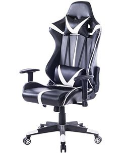 Killbee Ergonomic Swivel Gaming Chair PVC Leather Executive Office Chair with Headrest and Lumbar Support