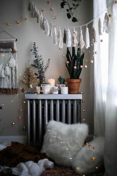 Tassels, plants, candles, whites, lights