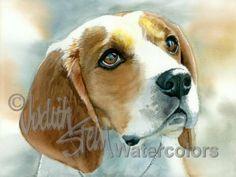 BEAGLE Dog Pet Portrait Watercolor Painting Art Print by k9stein, $22.50