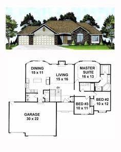 Ranch Style COOL House Plan ID: chp-19516 | Total Living Area: 1508 sq. ft., 3 bedrooms and 2.5 bathrooms. #ranchhome