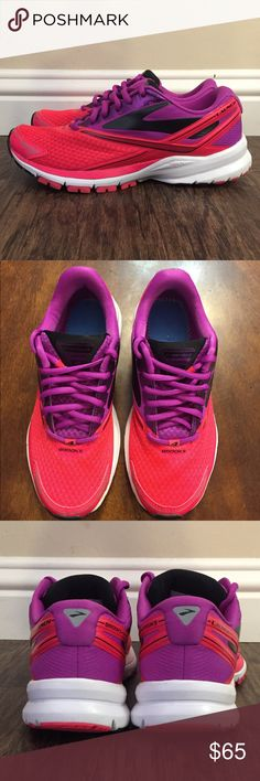 Brooks Launch 4 Tennis Running Shoe Like NEW with BOX. Only wore twice. Just too big for me.  💗Color: Purple Cactus Flower/Diva Pink/Neon Pink💗 Small spot (barely noticeable) spot on top (shown in picture). Brooks Shoes Sneakers