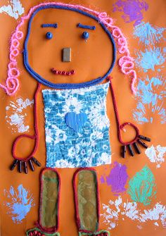 Texture collages using loose parts - art activity for kids