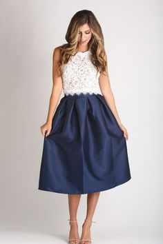 Leighton White Sleeveless Lace Top With Blue skirt