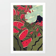 Watermelon surf dream Art Print by Yetiland -