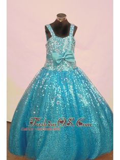 Sequin and Bowknot For Aqua Blue Little Girl Pageant Dresses http://www.fashionos.com http://www.facebook.com/quinceaneradress.fashionos.us Sparky sequined ball gown with straps, adorned with a satin bow which curve the waistline, showing off your sparky side. Complete with a zipper up back.