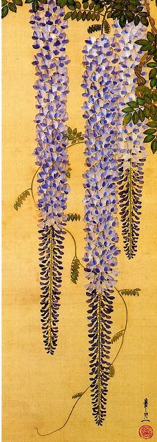 Lovely Nihon-ga (japanese-painting) style painting of fuji (wisteria) by 鈴木其一 Suzuki Kiitsu (1796-1858)