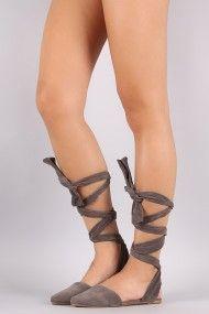 Leg Wrap Open Back Pointy Toe Flat | UrbanOG