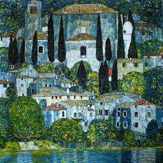 Gustav Klimt (1862-1918), Église à Cassone, 1913, collection privée. Cette vue a été réalisée à partir des hauteurs de Malcesine,dans la Villa Gruber s... - Pinar Kanat - Google+