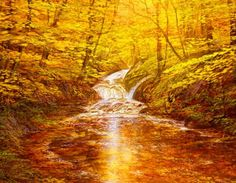 golden,forest,autumn,creek,painting