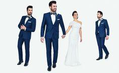 Kolekcja ślubna Giacomo Conti: niebieski taliowany garnitur ślubny (model Cristiano 1 E14/58P) #giacomoconti