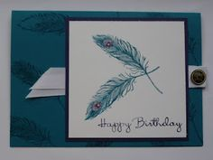 Pure inspiration Crafty ThINKer: An Elegant Peacock Feather Card! Feather Dream Catcher, Dream Catchers, Feather Cards, Great Backgrounds, Feather Design, Masculine Cards, Asd, Homemade Cards, Stampin Up Cards